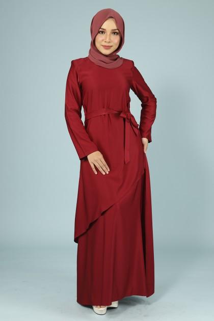 DRESS RHEINA PLAIN IN MAROON